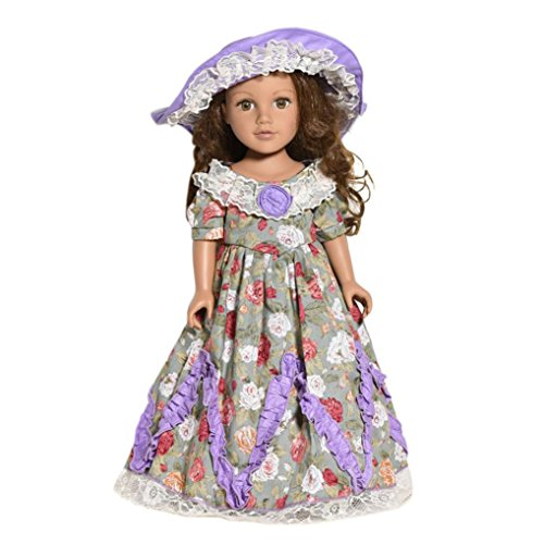 CYCTECH Doll Clothes Set Retro Dress Skirt Outfits Fits 18 inch Generation American Girl Dolls (A)