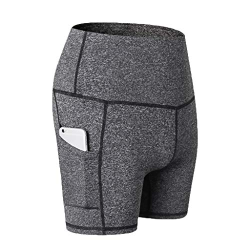 Nevera Women's High Waist Short Tights Training Running Pants with Phone Pocket Gray