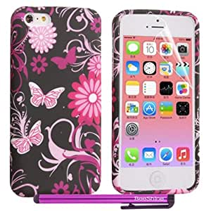 BeeShine Retail Package iPhone 5C Soft Rubber TPU Case Gel Skin Cover With LCD Film Screen Protector & Touch Stylus Pen For Apple iPhone 5C (Pink Butterfly Flower)
