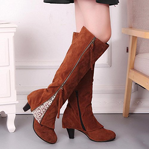 Wedge Buckle High-heeled Boot SOMESUN Ladies Women Biker Ankle Trim Zip Lace Ankle Boot Shoes Brown OoPVqXu1wI