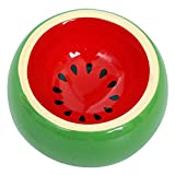 Hamster Food Bowl Ceramic Prevent being Tipped over Small Animal Water Dish for Guinea Pig Rodent Gerbil Cavy Hedgehog Feeding Bowl (Watermelon)