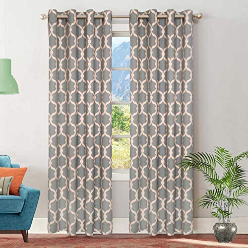 Ruvanti Linen Curtains for Living Room (2 Panels, 50 in Width X 63 in Length) Gently Light Reducing Burlap Curtains for Bed Room. Damask Print Farmhouse Curtains/Grey Curtains/Window Curtains/Drapes.