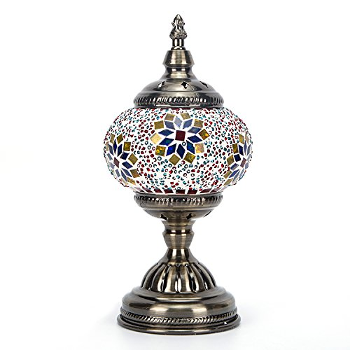 Handmade Turkish Glass Mosaic Table Lamp with Mosaic Lantern for Room Decoration - Lamp Purple Mosaic Table