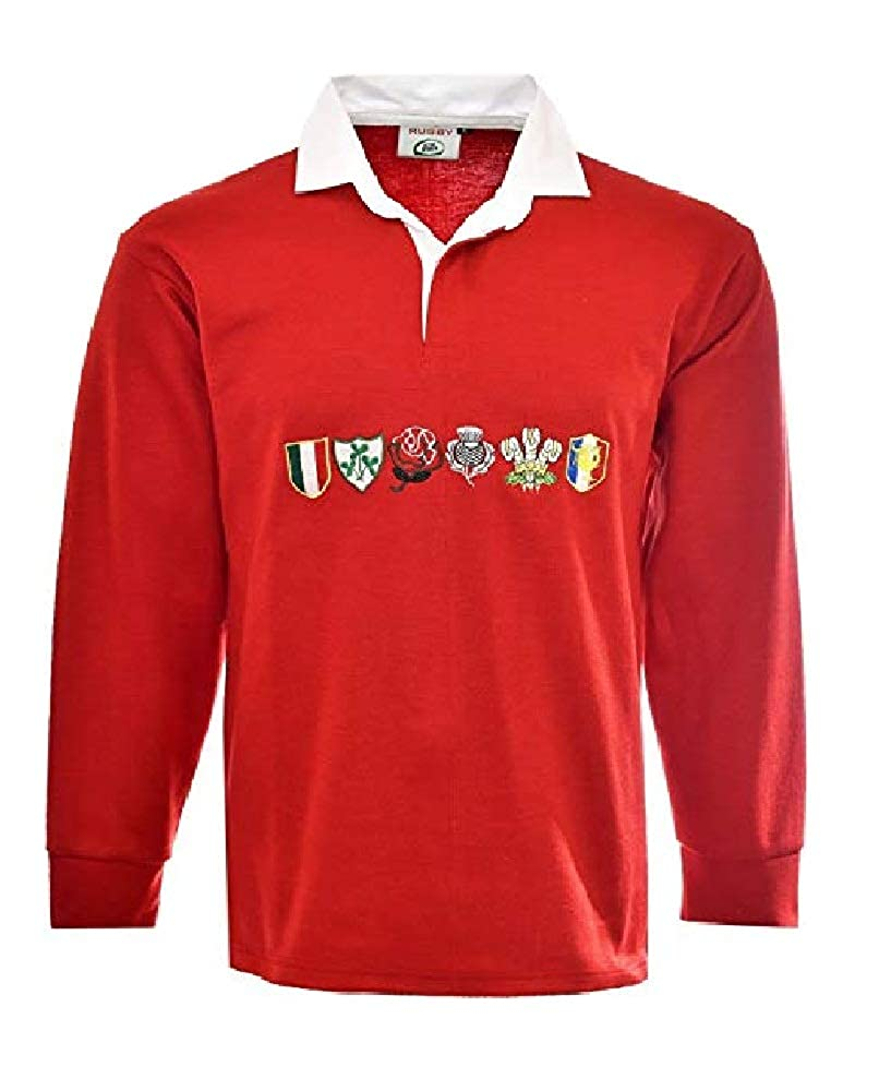 Men 6 Nation Full Sleeve Rugby Fan Shirts Size S to 5XL 6 NATION RUGBY SHIRTS