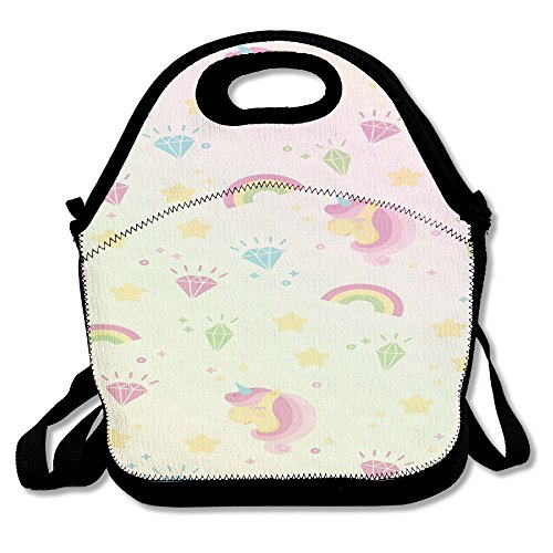 Unicorn Horse Funny Insulated Heating Polyester Strap Women Men Kids Teen Girls Black Lunch Bag Tote Food Storage Carrying Case For Travel Work