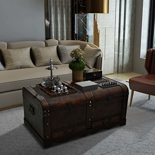 Decorative Storage Chest (Fesjoy Wooden Treasure Chest Old-Fashioned Antique Vintage Style Storage Box, 35.4 x 20 x 16.5 inch)