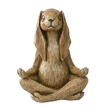 Wind & Weather GO7683 Meditating Rabbit Statue Garden Sculpture, Brown