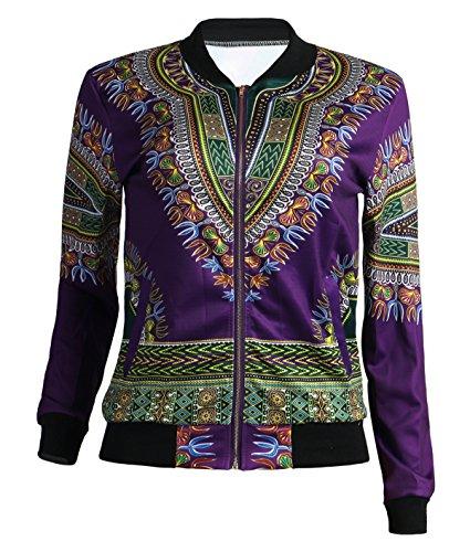 GLADTHINK Femme Africain Dashiki Caftan Culturel Porter Veste 3d Violet