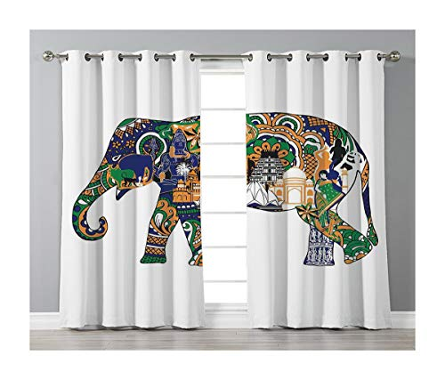 Goods247 Blackout Curtains,Grommets Panels Printed Curtains Living Room (Set of 2 Panels,52 63 Inch Length),Elephant -
