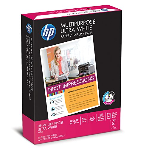 HP Printer Paper, Multipurpose Ultra White, 20lb, 8.5 x 11, Letter, 96 Bright - 500 Sheets