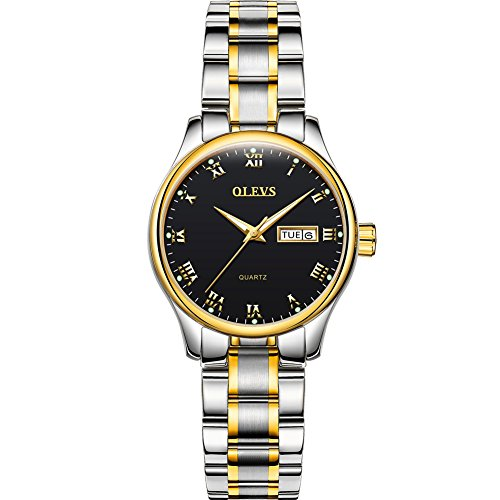 OLVES Fashion Couple Watches Stainless Steel Waterproof Wristwatch Women Quartz Watch Luminous Clock Complete Calendar Bracelet Watch Ladies Dress Wristwatches Best Gift with One More Free Battery
