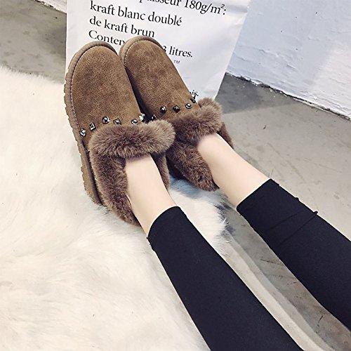 Khaki US5.5   EU36   UK3.5   CN35 Khaki US5.5   EU36   UK3.5   CN35 HSXZ Women's shoes Nubuck leather PU Winter Fall Comfort Snow Boots Boots Flat Heel Round Toe Booties Ankle Boots for Casual Khaki Black