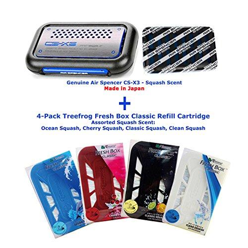 Air Spencer Cs-x3 Squash Air Freshener Unit with Refill + 4 Packs Treefrog Assorted Squash Refill (Ocean Squash, Cherry Squash, Clean Squash, Black Classic Squash Scent)