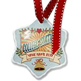 Add Your Own Custom Name, Greetings from College Station, Vintage Postcard Christmas Ornament NEONBLOND