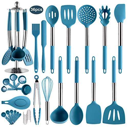 36PCS Stainless Steel Silicone Kitchen Cooking Utensil Set with Stand for Countertop, Cook Gadgets Kitchen Utensils Spatula Sets with Utensil Stand for Cookware (Dark Blue)