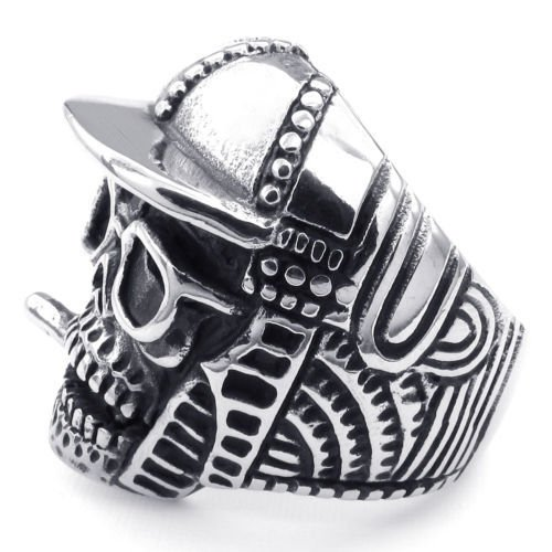 Aooaz Men's Ring Stainless Steel Biker Silver Baseball CAP Skull Death S Head Vintage Retro Gothic Punk