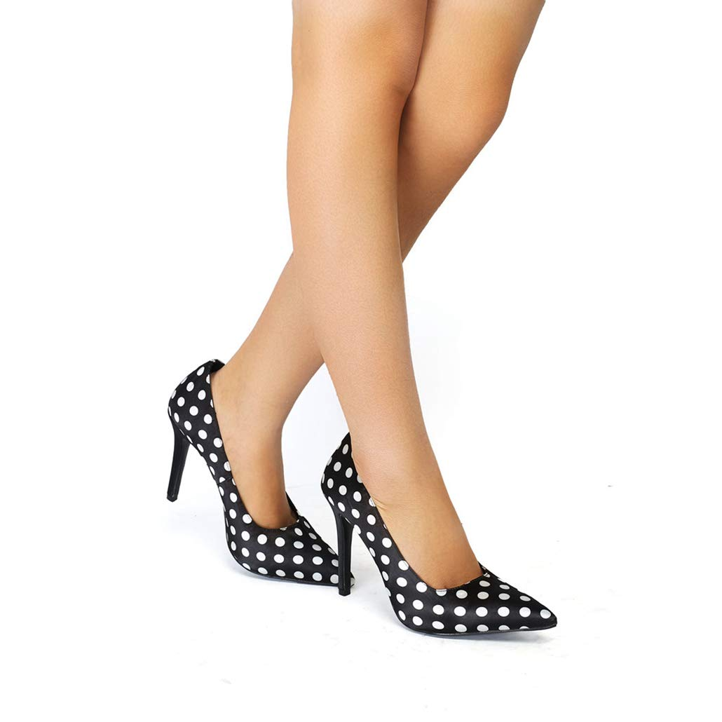 Scarpe a Punta per Le Donne Moda Moda Moda Sandali con Tacco Alto in Pelle PU con Tacco Alto a Pois 127c08
