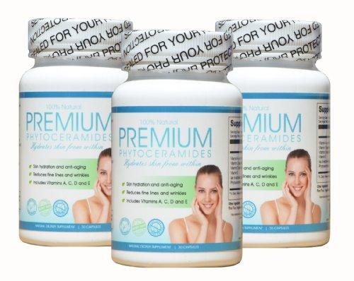 Phytoceramides - 3 месяца поставки - Anti-Aging, 100% натуральный органический восстановления кожи и увлажнение изнутри - клейковины бесплатно! - Изготовлен из растительного происхождения витаминная добавка для мужчин и женщин - производятся в США под GMP