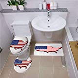 Bath mat set Round-Shaped Toilet Mat Area Rug Toilet Lid Covers 3PCS,USA Map,America Continent Figure with National Flag Symbol Glory Country Design Decorative,Navy Blue Red White Bath mat set Round-S