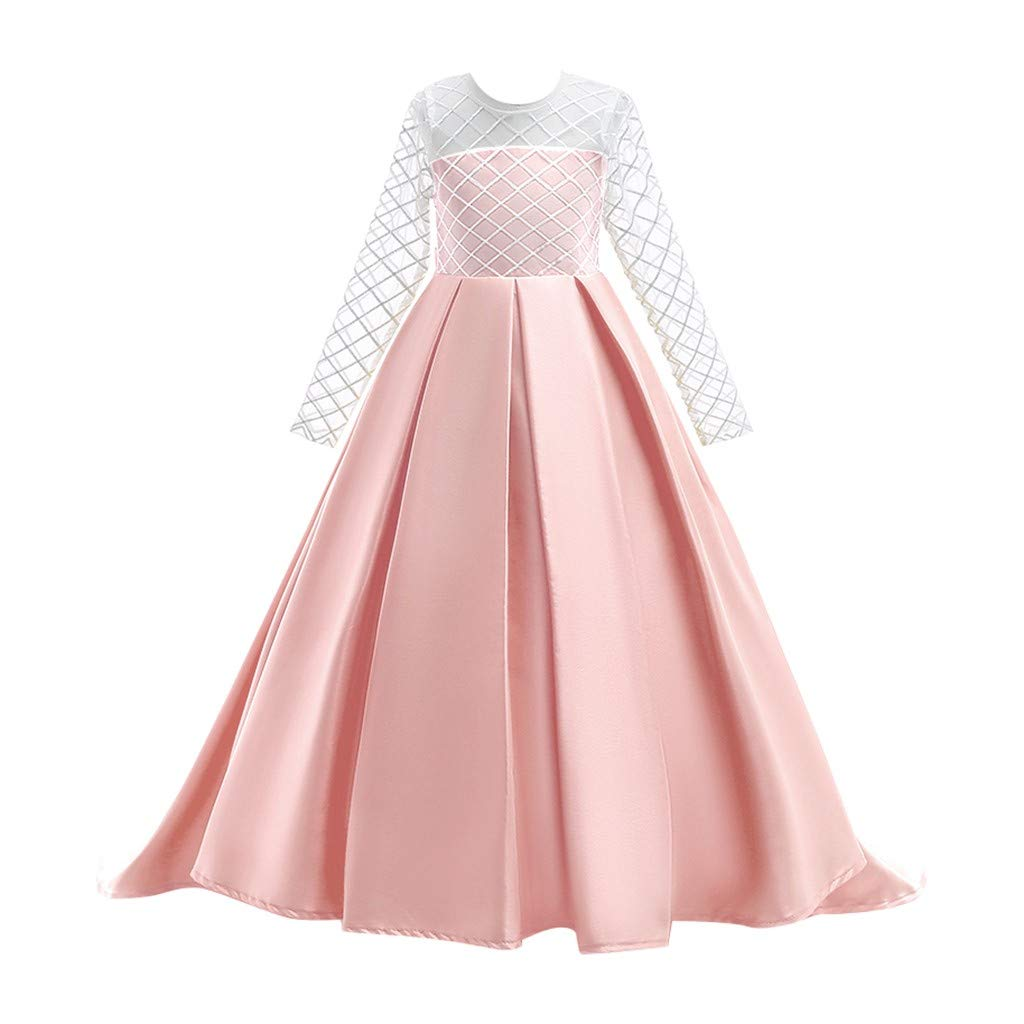 Kids Girls Solid Color Vintage Gown Teens Lace Long Sleeve Floor Bridesmaid Party Dance Dresses for Wedding (Age:13-15 Years, Pink) by FDSD Baby Clothes