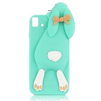 BQ Aquaris E5 Rabbit Case, Sunroyal Bonita Linda 3D Forma de Conejo Carcasa Dibujos Animados Buck Teeth Bunny Cover Protectora de Goma Suave de ...