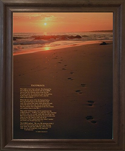 Footprints Poster in the Sand Motivational Wall Decor Brown Rust Framed Picture Art Print
