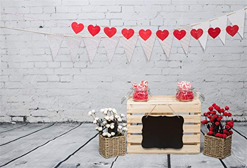 AOFOTO 9x6ft Vinyl Photography Background Wood Table Flowers Baskets Love Hearts Triangle Buntings Blackboard Brick Wall Wooden Plank Floor Customized Backdrop New Year Valentine's Day Studio (Flower Congratulations Basket)