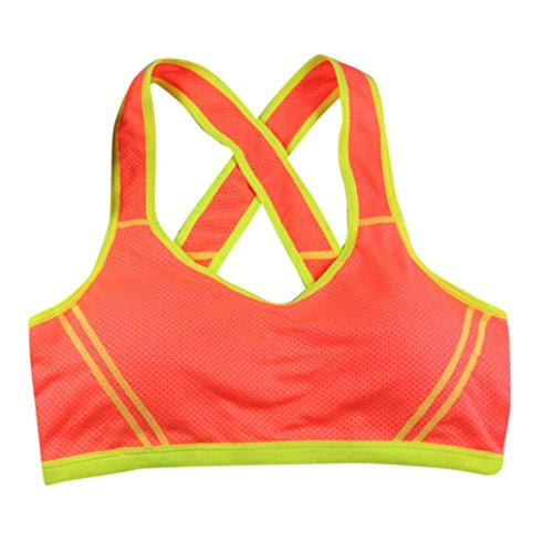 JUNKE Women Yoga Fitness Seamless Sports Bra (Orange)