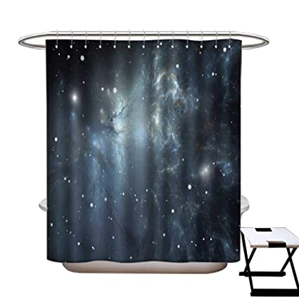 BlountDecor Constellation Shower Curtains With Hooks Infinite Space Nebula And Stars Universal Energy Cosmology