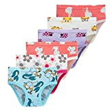 Winging Day Little Girls 100% Cotton Panties Cute Prints Underwear Size 4/5 (6-Pack)