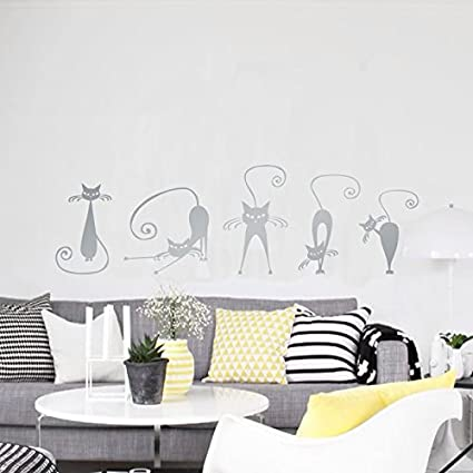5 Pegatinas silueta gato color gris pared vinilo decorativo ...