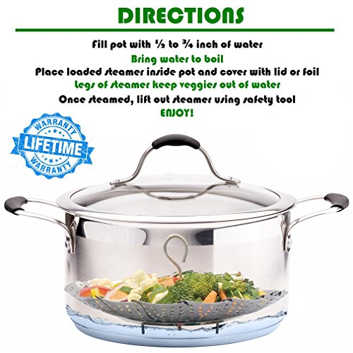 PREMIUM Vegetable Steamer Basket - BEST Bundle - Fits Instant Pot Pressure Cooker 3,5,6 Qt & 8 Quart - 100% Stainless Steel - BONUS Accessories - Safety Tool + eBook + Peeler | For Instapot - Egg Rack by kitchen deluxe (Image #4)