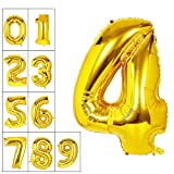 40 Inch Gold Number 4 Balloon Birthday Party Decorations Helium Foil Mylar Number Balloon