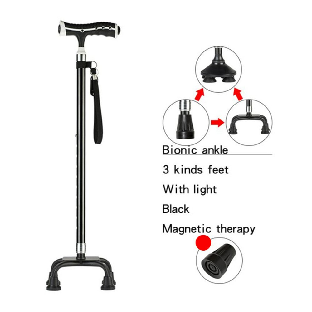 XIHAA Elderly Light Walking Stick Adjustable Telescopic Hiking Cane Elderly Crutch Stick Magnetic Therapy Fitness Aid Black Color Golden Color,Black