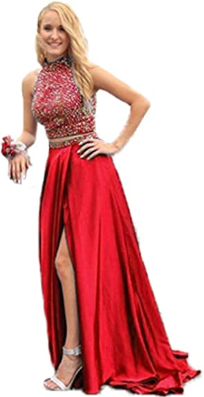 HONGFUYU Gorgeous A-Line High Neck Lace Prom Dress Beading Evening Gown 44252bd7e402