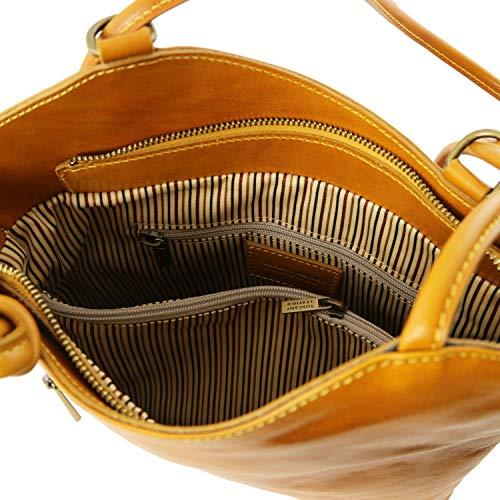 Bolso Amarillo De Señora Piel Convertible En Mochila Patty Tuscany Leather qzxE44