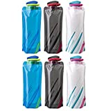 BESTZY 700ML Foldable Water Bottles Set of 6 Drink Bottle Bottle Pouches,Flexible Collapsible Reusable Water Weight Bag for Hiking,Adventure,Travel