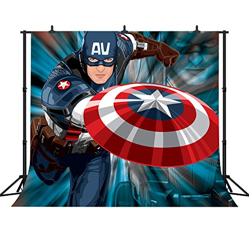 FHZON 10x10ft Captain America Cartoon Character Photography Backdrop Super Hero Superman Background Themed Party YouTube Backdrop Photo Booth Studio Props WFH031