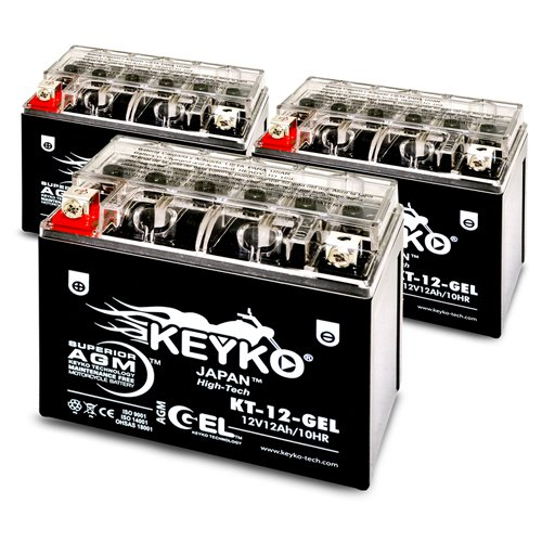 Triumph 1050CC Speed Triple, 2005-2010 Battery 12V 12Ah SLA Maintenance Free AGM-GEL Motorcycle Extreme High Performance Battery Replacement SLA Genuine KEYKO ® - 3 Pack by KEYKO