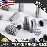3000 Gray 22-16 Gauge Twist On Wire Gard Connectors Conical Nuts Barrel Screw US