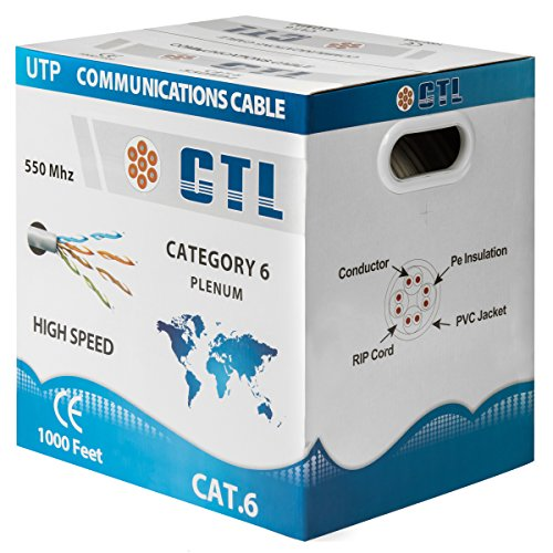 Cat6 Plenum White Professional Cable 550mhz 1000ft UTP Solid Bulk Cable {100% REAL PURE COPPER!} ( NOT CCA! ) { New Version V3 2017 } {Snagless Technology } by CTL
