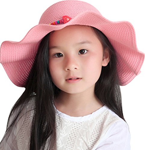 Kids Girls Multi-colors Large Brim Flower Beach Sun Hats,Pink