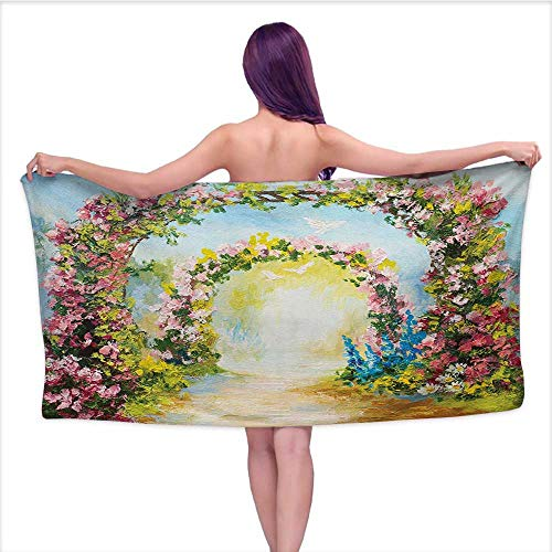 Onefzc Gym Towel Country Colorful Floral Arch in The Summer Park Romantic Feminine Boho Paint Style Print for Bathroom, Shower Towel, Gym W40 x L20 Multicolor