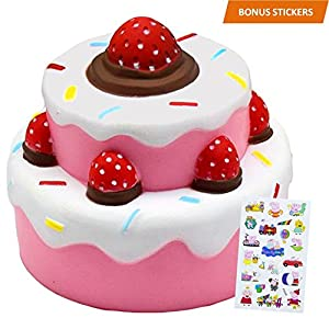 Slow rising squishies Cake with BONUS STICKERS INCLUDED - toy Squishy Kawaii Jumbo Stress Relief Scented Squishy Toys For Kids and Adults, Pink Strawberry Cake