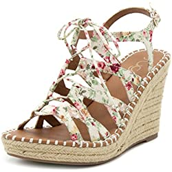 Sugar Women's HUNNIES Espadrille Wedge Lace Up Sandal 7.5 White Floral