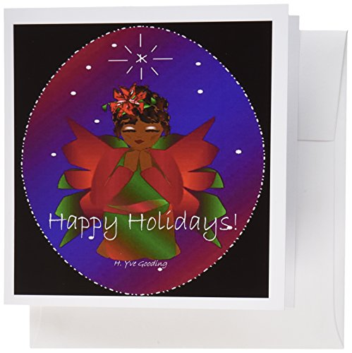 - 3dRose African-American Christmas Angel Baby Girl Praying With Happy Holidays Text - Greeting Cards, 6 x 6 inches, set of 6 (gc_6944_1)