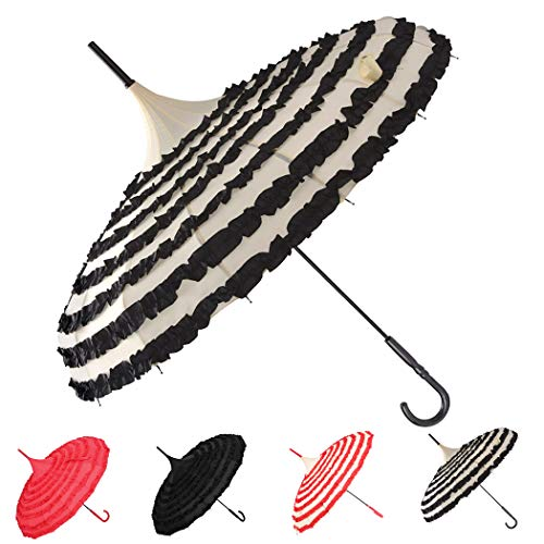 Outgeek Ladies Sunproof Umbrella Parasol Lace Flowers Pagoda-Shaped Victoria Style Long Handle - Parasol Ruffle