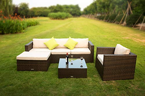 VANERUM 6 Piece Outdoor Rattan Sectional Sofa- Patio Wicker Furniture Set&Modern Glass Coffee Table(Brown) | Use for Patio,Backyard,Deck,Pool | Incl.Tan Cushions & Seats