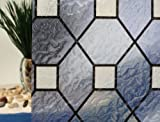 """Blue Leaded Stained Glass Decorative Window Film, Adhesive Free (36"""" x 3ft Roll)"""