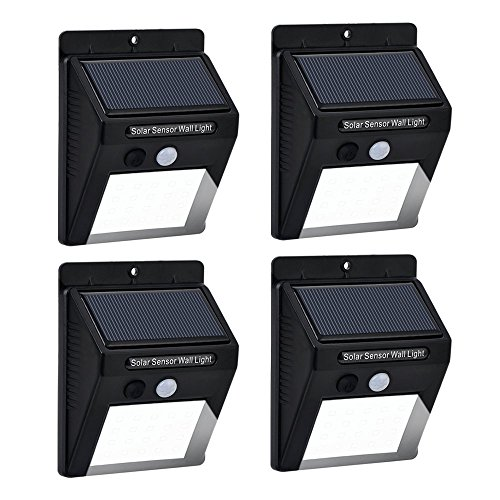 Solar Lights Sumnova 20 LED Outdoor Waterproof Wireless Solar Powered Motion Sensor Security Wall Light for Garden, Patio, Deck, Pathway with Motion Activated Auto On/Off (4-Pack)
